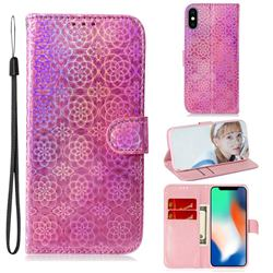 Laser Circle Shining Leather Wallet Phone Case for iPhone XS / iPhone X(5.8 inch) - Pink