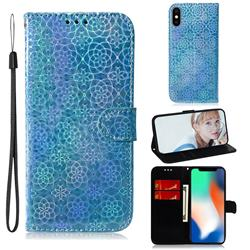 Laser Circle Shining Leather Wallet Phone Case for iPhone XS / iPhone X(5.8 inch) - Blue