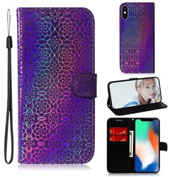 Laser Circle Shining Leather Wallet Phone Case for iPhone XS / iPhone X(5.8 inch) - Purple