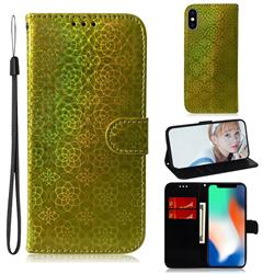 Laser Circle Shining Leather Wallet Phone Case for iPhone XS / iPhone X(5.8 inch) - Golden
