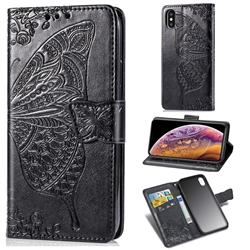 Embossing Mandala Flower Butterfly Leather Wallet Case for iPhone XS / iPhone X(5.8 inch) - Black
