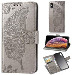 Embossing Mandala Flower Butterfly Leather Wallet Case for iPhone XS / iPhone X(5.8 inch) - Gray