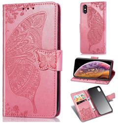 Embossing Mandala Flower Butterfly Leather Wallet Case for iPhone XS / iPhone X(5.8 inch) - Pink