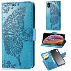 Embossing Mandala Flower Butterfly Leather Wallet Case for iPhone XS / iPhone X(5.8 inch) - Blue