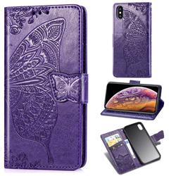 Embossing Mandala Flower Butterfly Leather Wallet Case for iPhone XS / iPhone X(5.8 inch) - Dark Purple