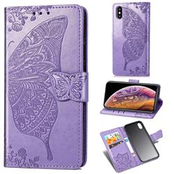 Embossing Mandala Flower Butterfly Leather Wallet Case for iPhone XS / iPhone X(5.8 inch) - Light Purple