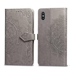 Embossing Imprint Mandala Flower Leather Wallet Case for iPhone XS / iPhone X(5.8 inch) - Gray
