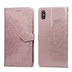 Embossing Imprint Mandala Flower Leather Wallet Case for iPhone XS / iPhone X(5.8 inch) - Rose Gold