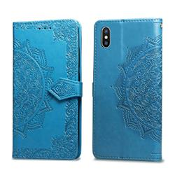 Embossing Imprint Mandala Flower Leather Wallet Case for iPhone XS / iPhone X(5.8 inch) - Blue