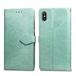 Embossing Imprint Mandala Flower Leather Wallet Case for iPhone XS / iPhone X(5.8 inch) - Green