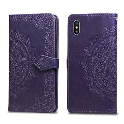 Embossing Imprint Mandala Flower Leather Wallet Case for iPhone XS / iPhone X(5.8 inch) - Purple