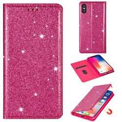 Ultra Slim Glitter Powder Magnetic Automatic Suction Leather Wallet Case for iPhone XS / iPhone X(5.8 inch) - Rose Red