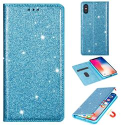 Ultra Slim Glitter Powder Magnetic Automatic Suction Leather Wallet Case for iPhone XS / iPhone X(5.8 inch) - Blue