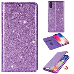 Ultra Slim Glitter Powder Magnetic Automatic Suction Leather Wallet Case for iPhone XS / iPhone X(5.8 inch) - Purple