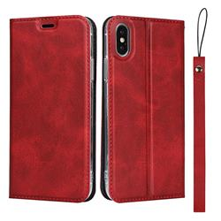 Calf Pattern Magnetic Automatic Suction Leather Wallet Case for iPhone XS / iPhone X(5.8 inch) - Red