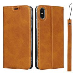 Calf Pattern Magnetic Automatic Suction Leather Wallet Case for iPhone XS / iPhone X(5.8 inch) - Brown