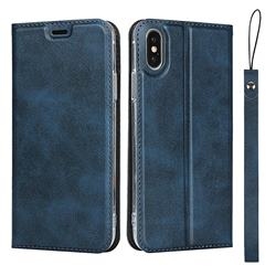 Calf Pattern Magnetic Automatic Suction Leather Wallet Case for iPhone XS / iPhone X(5.8 inch) - Blue