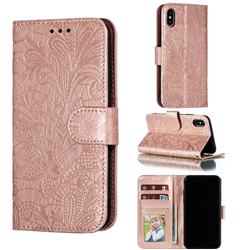 Intricate Embossing Lace Jasmine Flower Leather Wallet Case for iPhone XS / iPhone X(5.8 inch) - Rose Gold