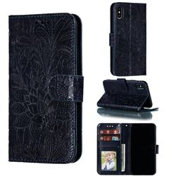 Intricate Embossing Lace Jasmine Flower Leather Wallet Case for iPhone XS / iPhone X(5.8 inch) - Dark Blue