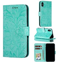 Intricate Embossing Lace Jasmine Flower Leather Wallet Case for iPhone XS / iPhone X(5.8 inch) - Green