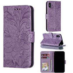 Intricate Embossing Lace Jasmine Flower Leather Wallet Case for iPhone XS / iPhone X(5.8 inch) - Purple