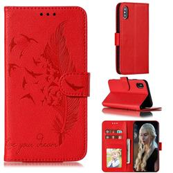 Intricate Embossing Lychee Feather Bird Leather Wallet Case for iPhone XS / iPhone X(5.8 inch) - Red