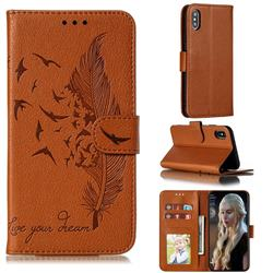 Intricate Embossing Lychee Feather Bird Leather Wallet Case for iPhone XS / iPhone X(5.8 inch) - Brown