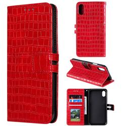 Luxury Crocodile Magnetic Leather Wallet Phone Case for iPhone XS / iPhone X(5.8 inch) - Red