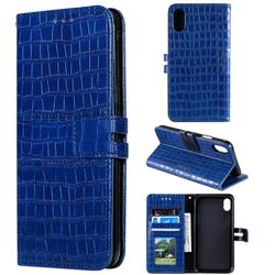 Luxury Crocodile Magnetic Leather Wallet Phone Case for iPhone XS / iPhone X(5.8 inch) - Blue