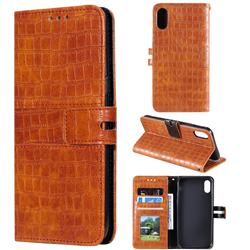 Luxury Crocodile Magnetic Leather Wallet Phone Case for iPhone XS / iPhone X(5.8 inch) - Brown