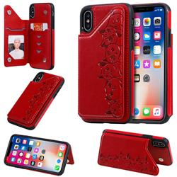 Yikatu Luxury Cute Cats Multifunction Magnetic Card Slots Stand Leather Back Cover for iPhone XS / iPhone X(5.8 inch) - Red