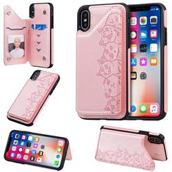 Yikatu Luxury Cute Cats Multifunction Magnetic Card Slots Stand Leather Back Cover for iPhone XS / iPhone X(5.8 inch) - Rose Gold