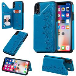 Yikatu Luxury Cute Cats Multifunction Magnetic Card Slots Stand Leather Back Cover for iPhone XS / iPhone X(5.8 inch) - Blue