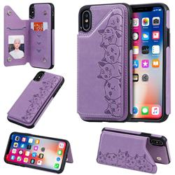 Yikatu Luxury Cute Cats Multifunction Magnetic Card Slots Stand Leather Back Cover for iPhone XS / iPhone X(5.8 inch) - Purple