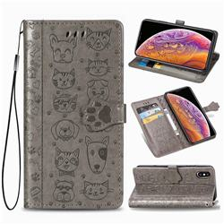 Embossing Dog Paw Kitten and Puppy Leather Wallet Case for iPhone XS / iPhone X(5.8 inch) - Gray