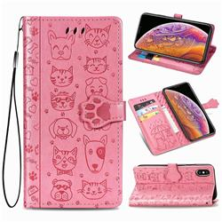 Embossing Dog Paw Kitten and Puppy Leather Wallet Case for iPhone XS / iPhone X(5.8 inch) - Pink