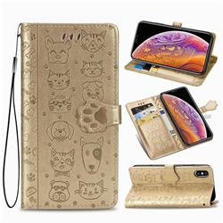 Embossing Dog Paw Kitten and Puppy Leather Wallet Case for iPhone XS / iPhone X(5.8 inch) - Champagne Gold