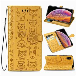 Embossing Dog Paw Kitten and Puppy Leather Wallet Case for iPhone XS / iPhone X(5.8 inch) - Yellow