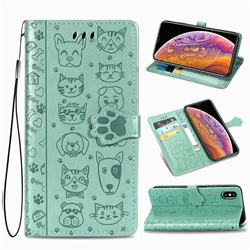Embossing Dog Paw Kitten and Puppy Leather Wallet Case for iPhone XS / iPhone X(5.8 inch) - Green