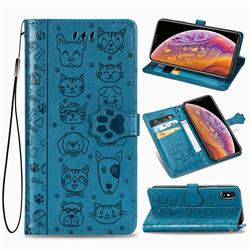 Embossing Dog Paw Kitten and Puppy Leather Wallet Case for iPhone XS / iPhone X(5.8 inch) - Blue