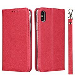Ultra Slim Magnetic Automatic Suction Silk Lanyard Leather Flip Cover for iPhone XS / iPhone X(5.8 inch) - Red