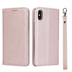 Ultra Slim Magnetic Automatic Suction Silk Lanyard Leather Flip Cover for iPhone XS / iPhone X(5.8 inch) - Rose Gold