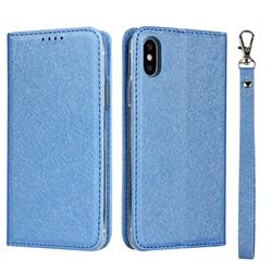 Ultra Slim Magnetic Automatic Suction Silk Lanyard Leather Flip Cover for iPhone XS / iPhone X(5.8 inch) - Sky Blue