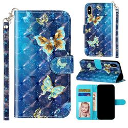 Rankine Butterfly 3D Leather Phone Holster Wallet Case for iPhone XS / iPhone X(5.8 inch)