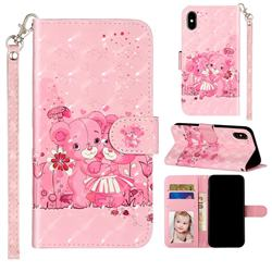 Pink Bear 3D Leather Phone Holster Wallet Case for iPhone XS / iPhone X(5.8 inch)