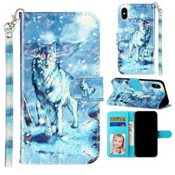 Snow Wolf 3D Leather Phone Holster Wallet Case for iPhone XS / iPhone X(5.8 inch)