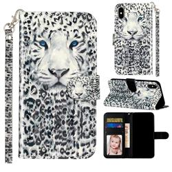 White Leopard 3D Leather Phone Holster Wallet Case for iPhone XS / iPhone X(5.8 inch)