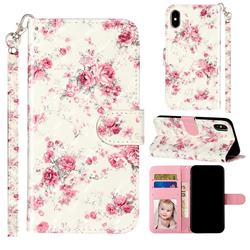 Rambler Rose Flower 3D Leather Phone Holster Wallet Case for iPhone XS / iPhone X(5.8 inch)