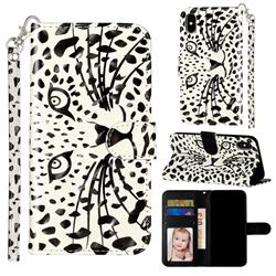 Leopard Panther 3D Leather Phone Holster Wallet Case for iPhone XS / iPhone X(5.8 inch)