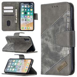 BinfenColor BF04 Color Block Stitching Crocodile Leather Case Cover for iPhone XS / iPhone X(5.8 inch) - Gray